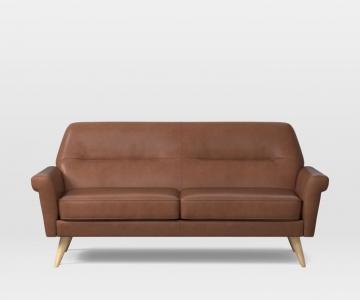 Sofa da chân gỗ